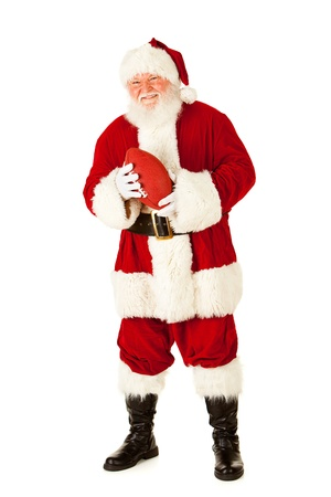 Extensive series of an isolated on white, Caucasian, authentic Santa Claus. Banco de Imagens