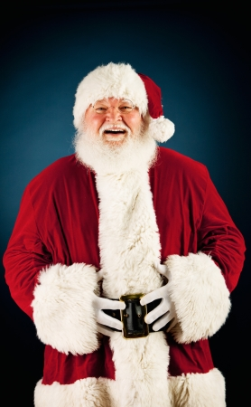 christmas costume: Extensive series of a Caucasian, Authentic Santa Claus Character on a blue background.