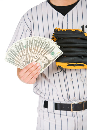 fanned: Baseball Player with Money Fanned Out