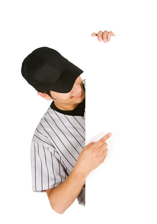 Baseball Player Points To White Card