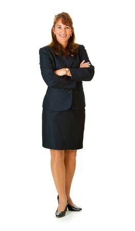 mujer alegre: Político: De pie, con los brazos cruzados Foto de archivo