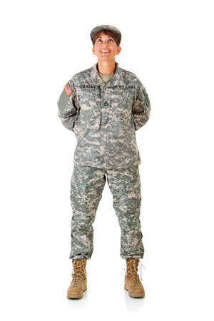 army boots: Soldier: Standing at Ease Looking Up