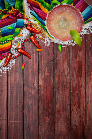 margarita glass: Cinco De Mayo Background With Margarita And Copyspace Stock Photo