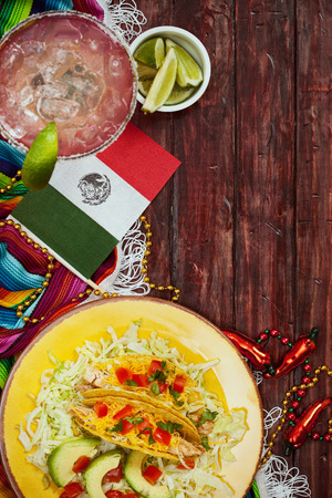 Cinco De Mayo Background With Tacos And Margarita Stock Photo