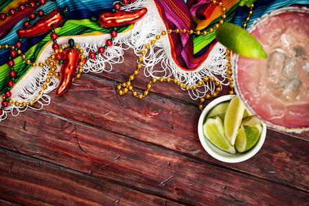 Cinco De Mayo Background With Serape and Margarita Stock Photo