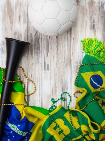vuvuzela: Brazil Soccer Background With Scarf And Vuvuzela Stock Photo