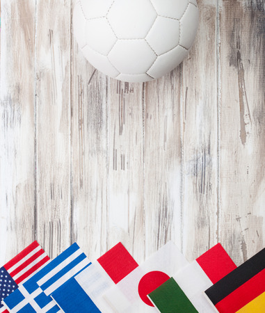 swiss ball: International Flag Soccer Background With Copyspace Stock Photo