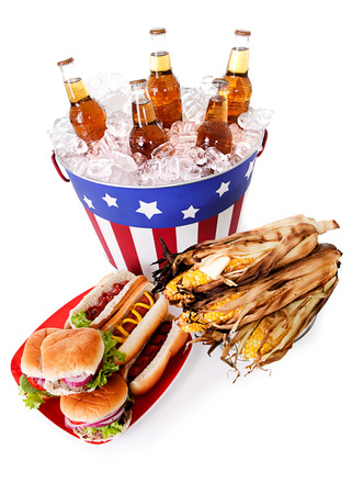 beer bucket: Burgers, Hot Dogs, Corn And Bucket Of Beer Stock Photo