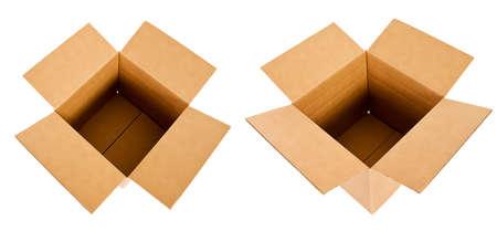 Two Open Cardboard Boxes Stok Fotoğraf