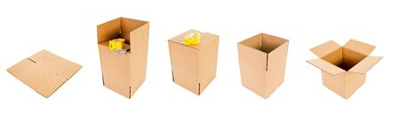 Cardboard boxes, isolated on white. Zdjęcie Seryjne