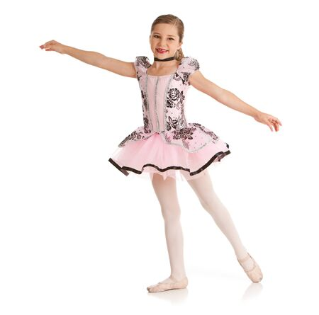 Isolated on white series of a cute young Caucasian girl dancer in various dance outfits, including ballet, hip hop, jazz and acrobatics. Zdjęcie Seryjne - 55385452