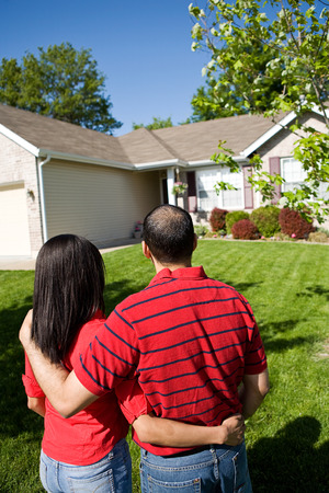 homebuyer: Extensive series of a Caucasian Real Estate Agent and African-American Couple in front of a home.