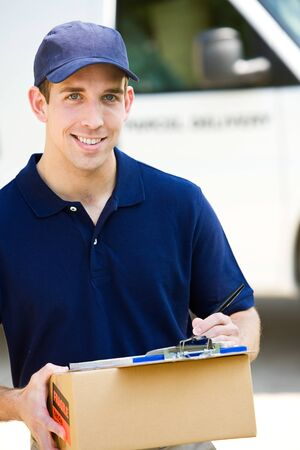 delivering: Delivery: Delivering a Package Stock Photo
