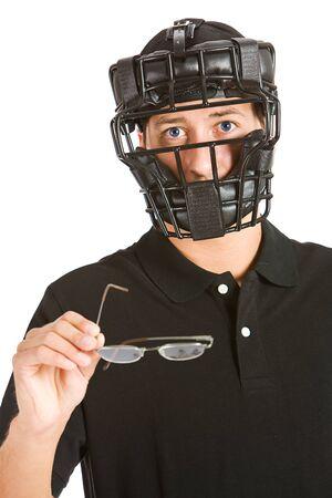 umpire: Baseball: Umpire Needs Glasses to Make Call Stock Photo
