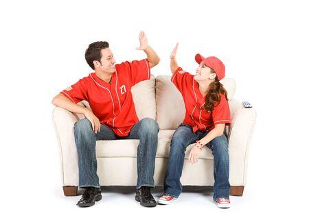high five: Baseball: Team Winning High Five