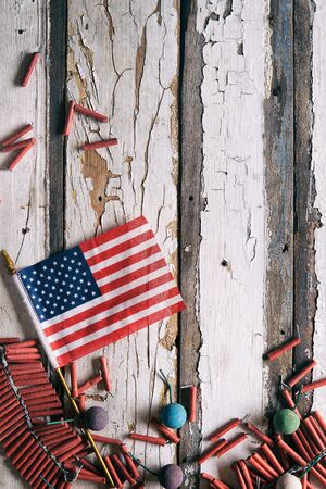 july 4th: Summer: USA Flag And Fireworks July 4th Background