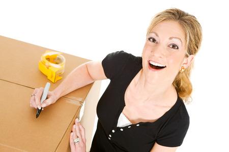 sealing tape: Boxes: Woman Writing On Box
