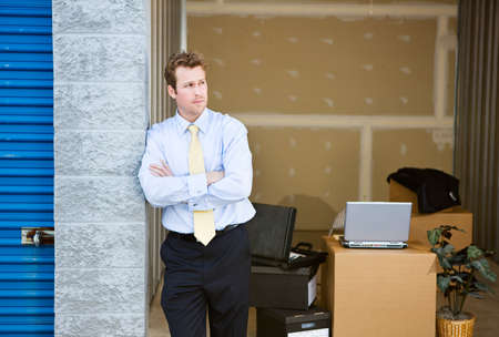 Storage: Business Man Stands By Temporary Office