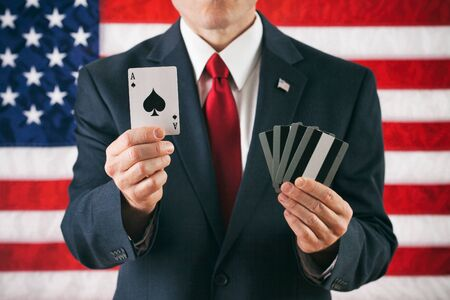 Politician: Holding The Ace In A Winning Hand Stock Photo