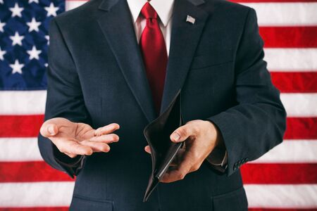 destitute: Politician: Man Upset Over Empty Wallet Stock Photo