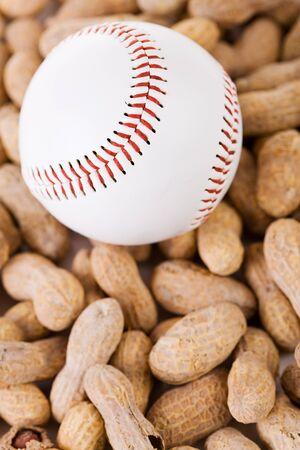 sports shell: Baseball: Baseball and Peanut Snack Stock Photo
