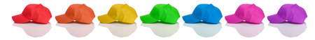 baseball caps: Baseball: Side View of Colorful Baseball Caps Stock Photo