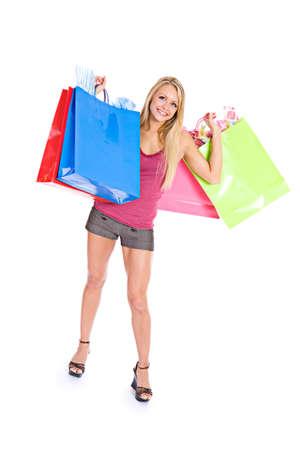 shopper: Shopping: Full Length Female Shopper Holding Bags