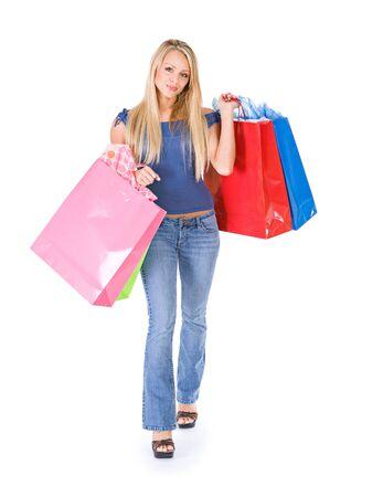 shopper: Shopping: Walking Shopper With Handfuls Of Bags