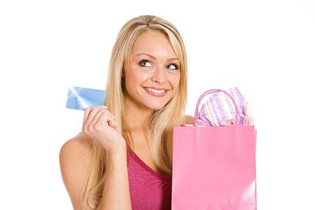 shopper: Shopping: Pretty Shopper Holding Credit Card