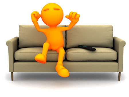 loveseat: 3d Guy: Cheering for Sports on Television Stock Photo