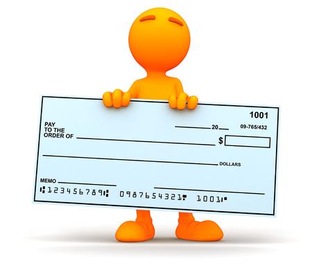 cheque en blanco: Individuo 3D: Llevar a cabo un cheque en blanco gigante Foto de archivo