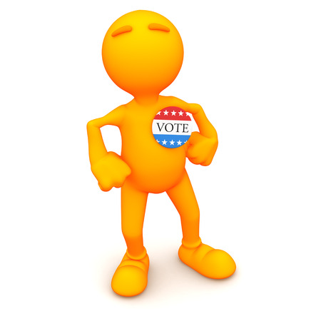 vote button: 3d Guy: Standing Proud With Vote Button