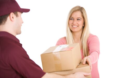accepts: Shipping: Woman Accepts Delivery From Man