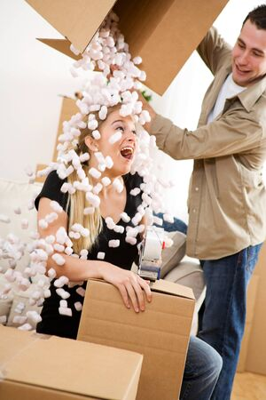 dumps: Moving: Man Dumps Box of Peanuts On Wife For Fun