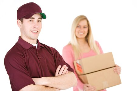 trustworthy: Shipping: Trustworthy Delivery Man With Customer Behind Stock Photo