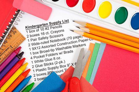 Series with school supplies list - pencils, eraser, supply sheet, scissors, paints, etc. Different items per grade level.