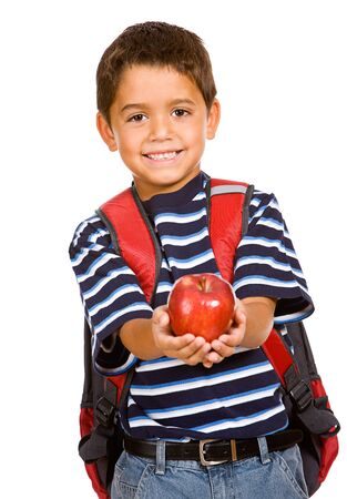 Student: Young Student Holds Apple Stock Photo