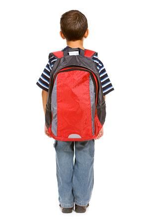 Student: Rear View of Boy with Backpack Stock Photo