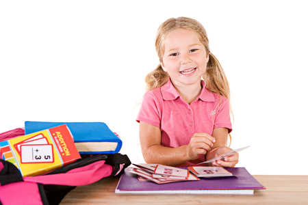 Education: Smiling Girl Studying Math Flash Cards