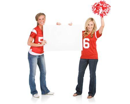 cheer full: Fans: Football Women Holding Blank Sign
