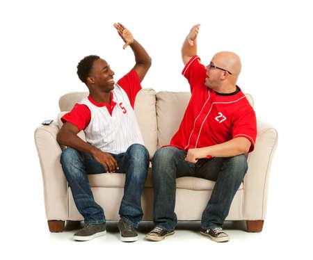 Fans: Men High Five Each Other Stock Photo