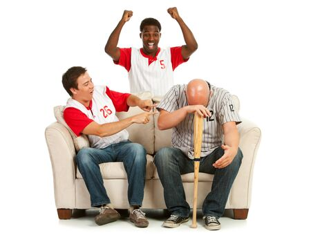 embarassed: Fans: Man Distraught with Losing Team Stock Photo