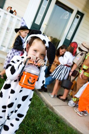 Halloween: Cute Trick or Treater with Flashlight