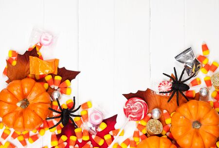 Autumn: Halloween Spider Decorations And Pumpkins Background Stock Photo