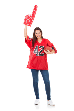 foam finger: Football: Pretty Woman With Foam Finger And Ball Stock Photo