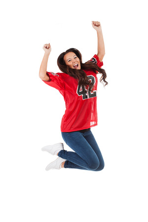fanatic: Football: Woman Jumps In Air To Cheer For Team