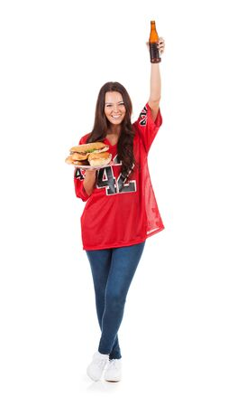 Football: Woman Cheers With Sandwiches And Beer