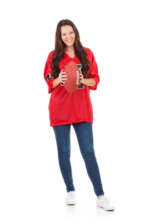 Football: Smiling Woman Holds Football Ready For Game