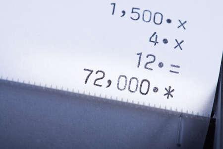 紙テープの計算: 計算結果 写真素材