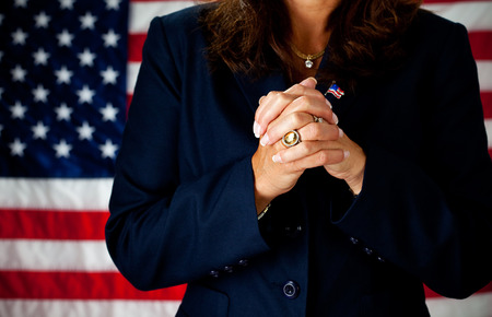 Politician: Focus on Hands Clasped Stock Photo - 61860838